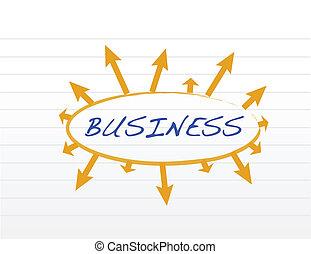 concetto, frecce, intorno, affari