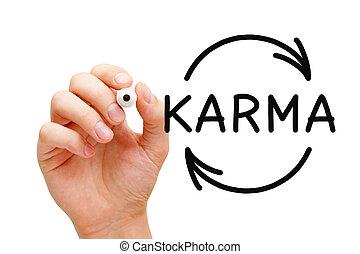 concetto, frecce, karma, ciclo