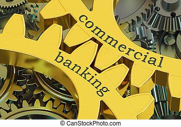 concetto, gearwheels, bancario, commerciale, interpretazione, 3d