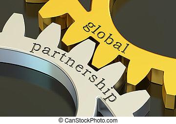 concetto, gearwheels, globale, associazione, interpretazione, 3d