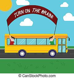 concetto, generazione, testo, mente, idee, attivare, brain., tuo, fuori, trip., due, presa a terra, autobus, significato, bastone, bandiera, giorno, bambini scuola, dentro, turno, tempo, scrittura, pensare