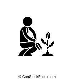 concetto, giardino, isolato, illustrazione, segno, fondo., vettore, nero, icona, simbolo, cura