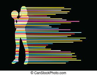 concetto, giocatore, silhouette, vettore, fondo, bowling