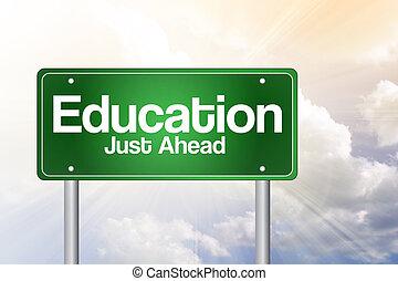 concetto, giusto, avanti, segno, verde, educazione, strada