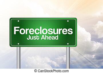 concetto, giusto, avanti, segno, verde, foreclosures, strada