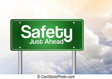 concetto, giusto, avanti, segno, verde, sicurezza, strada
