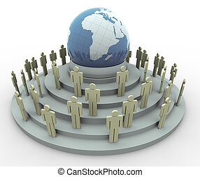 concetto, globale, 3d, villaggio
