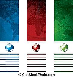 concetto, globale, bandiera, affari, vettore