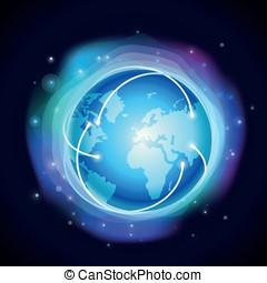 concetto, globo, -, ardendo, vettore, internet