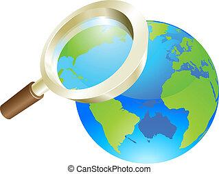 concetto, globo, vetro, mondo, terra, ingrandendo