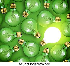 concetto, grande, idea., ardendo, sfondo verde, lampadina