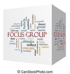 concetto, gruppo, fuoco, cubo, parola, nuvola, 3d