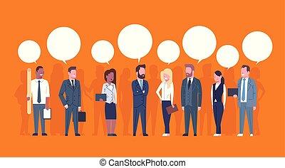 concetto, gruppo, persone affari, riuscito, comunicazione, uomini affari, chiacchierata, squadra, bolle, donne affari