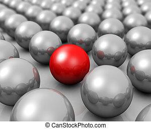 concetto, gruppo, sfera, stare in piedi, unico, rosso, fuori