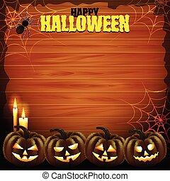 concetto, halloween, zucche, quattro, legno, fondo