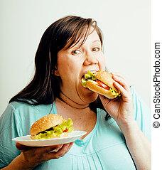 concetto, hamburger, malsano, persone, fra, cibo, grasso, scelta, donna mangia, insalata, emotivo, stile di vita, bianco, detenere