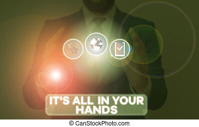 concetto, hands., testo, noi, tutto, tuo, presa, destino,...