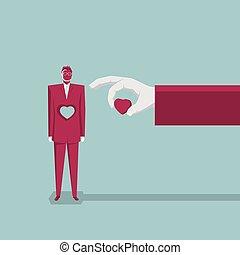 concetto, heart., affari, hollowed, uomo affari, fuori, era, design.