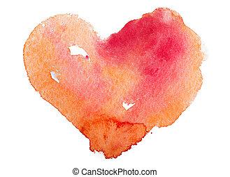 concetto, heart., amore, -, pittura watercolor, arte, ...
