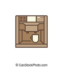 concetto, icona, macchina, vettore, colorito, caffè