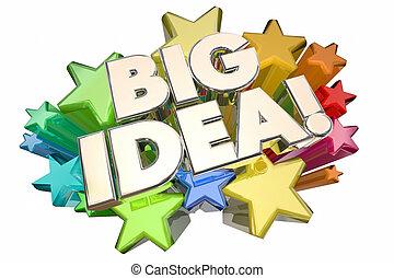 concetto, idea grande, illustrazione, pensiero, stelle, opportunità, 3d