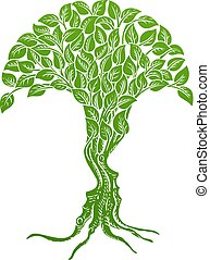 concetto, illusione, albero, facce, ottico