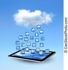 concetto, illustration., calcolare, icons., vettore, fondo, nuvola