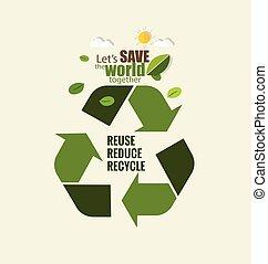 concetto, illustration., eco, simbolo., friendly., vettore, ecologia, riciclare