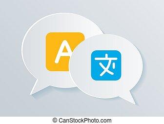 concetto, illustration., lingua, icone, comunicazione, shapes., straniero, conversazione, chiacchierata, internazionale, traduzione, bolla