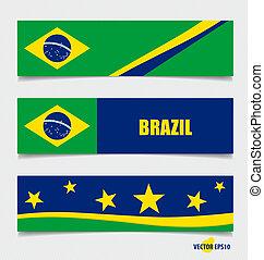 concetto, illustration., vettore, bandiere, brasile, design.