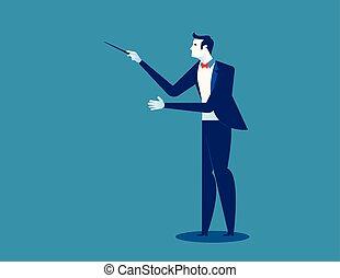concetto, illustration., vettore, orchestra, conductor., conduttore