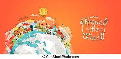 concetto, illustration., viaggiare, illustrazione, vettore, mondo, intorno