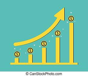 concetto, illustratore, affari, grafico, dollaro, grafico, crescita, background.vector, moneta