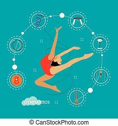 concetto, illustrazione, di, ritmico, e, ginnastiche artistiche, appartamento, disegno