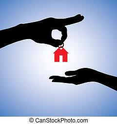 concetto, illustrazione, di, vendita, o, gifting, casa, in,...