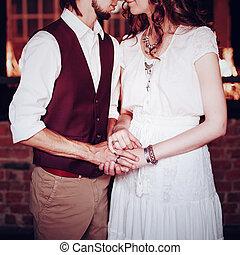 concetto, immagine, mani, presa a terra, coppia matrimonio