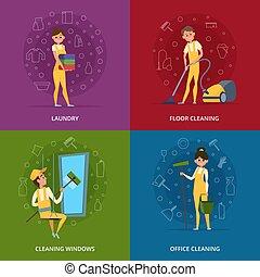 concetto, immagini, di, pulizia, servizio, lavorante