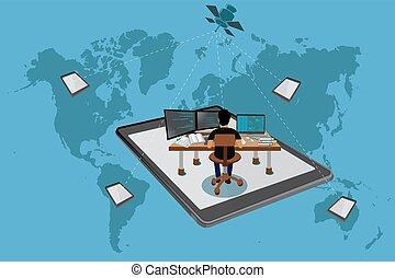 concetto, indipendente, affari globali