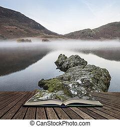 concetto, Inghilterra, inverno, distretto,  crummock, lago, acqua, tramortire, libro, venuta, nebbioso, aperto, pagine, alba, fuori