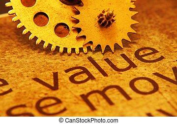 concetto, ingranaggi, valore