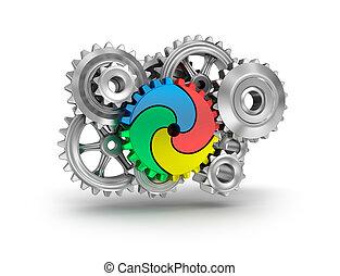 concetto, ingranaggio, colorito, -, lavoro squadra, ruote