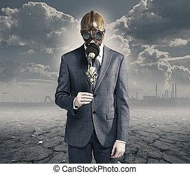 concetto, inquinato, ambiente, secco, rose:, uomo affari