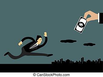 concetto, inseguire, soldi, illustrazione, vettore, uomo affari
