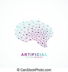 concetto, intelligenza, concept., logotype, artificiale, idea, cervello, vettore, disegno, logotipo, icon., creativo