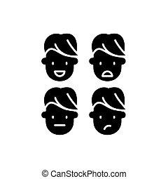 concetto, intelligenza, isolato, illustrazione, segno, fondo., vettore, nero, icona, emotivo, simbolo