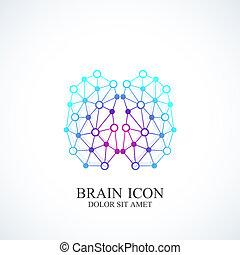 concetto, intelligenza, logotype, artificiale, idea, cervello, vettore, disegno, logotipo, icon., creativo