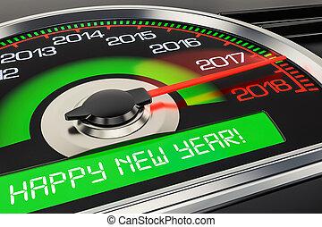 concetto, interpretazione, 2018, anno, nuovo, felice, tachimetro, 3d