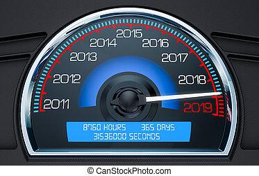 concetto, interpretazione, 2019, anno, nuovo, tachimetro, 3d