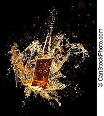 concetto, intorno, liquore, isolato, sfondo nero, bottiglia...