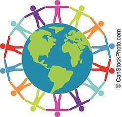 concetto, intorno, persone, viaggiare, pace, vettore, o, mondo